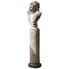 Busts Columns Pair of Composite Stone Brutus Laocoon