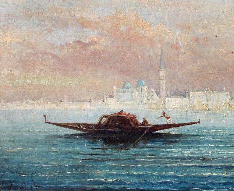 Baroque Busy Venetian Harbor Scene Italian Seascape Oil Painting For Sale