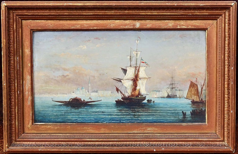 Busy Venetian Harbor Scene Italian Seascape Oil Painting In Good Condition For Sale In Rochester, NY