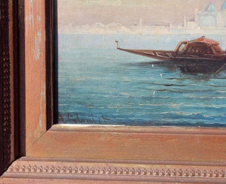 19th Century Busy Venetian Harbor Scene Italian Seascape Oil Painting For Sale