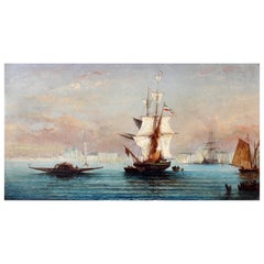 Busy Venetian Harbor Scene Italian Seascape Oil Painting