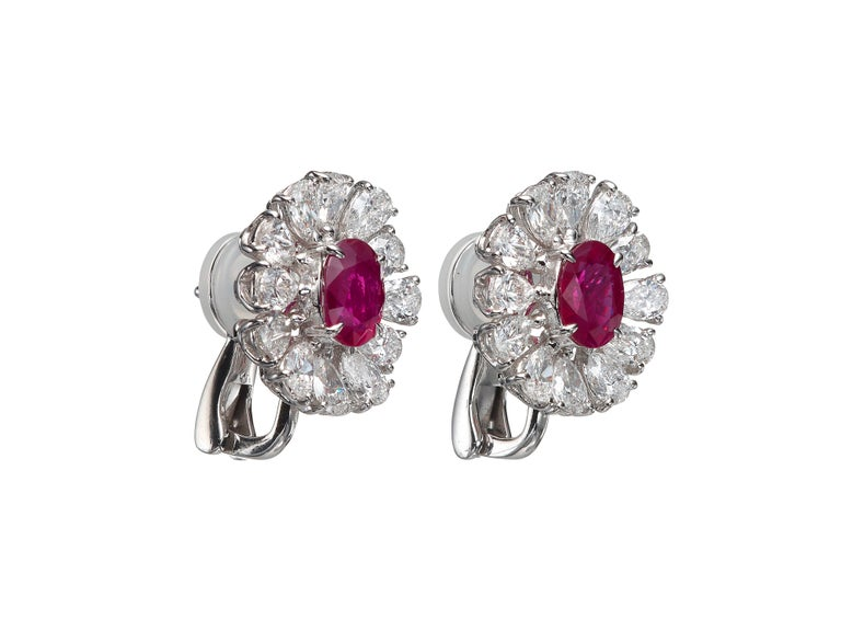 Understatedly elegant diamond stud earrings feature a center oval Ruby accented by a halo of pear-shape diamonds.  Total ruby weight 2.81 carats.  Total diamond weight 3.64 carats.  In 18k white gold.  This design is also available in Butani 2.5