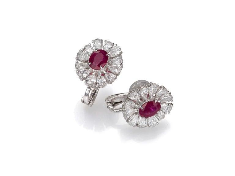 Contemporary 2.81 Carat Oval Ruby Pear-Shape Diamond 18 Karat White Gold Stud Earrings For Sale