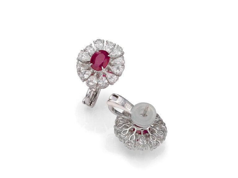 Oval Cut 2.81 Carat Oval Ruby Pear-Shape Diamond 18 Karat White Gold Stud Earrings For Sale