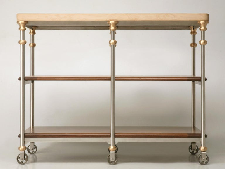 American Butcher Block Industrial Inspired Stainless Steel and Bronze Kitchen Island For Sale