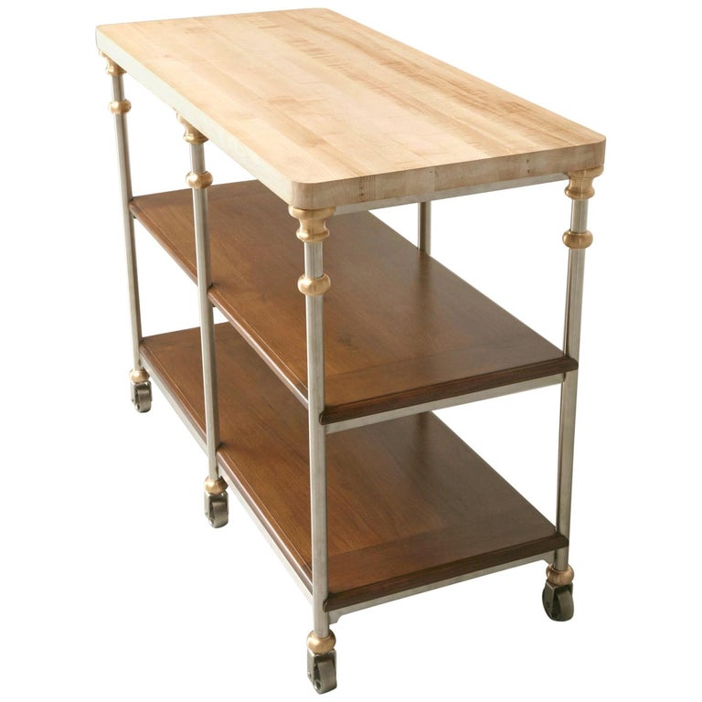 Butcher Block Industrial Inspired Stainless Steel and Bronze Kitchen Island For Sale