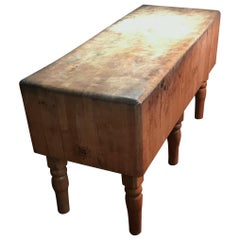 Butcher Block of Maple for Kitchen Island, Early 20th Century