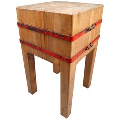 Butcher's Chopping Block Table on Stand, France, 1930s