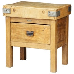Butcher's Chopping Block Table on Stand from England