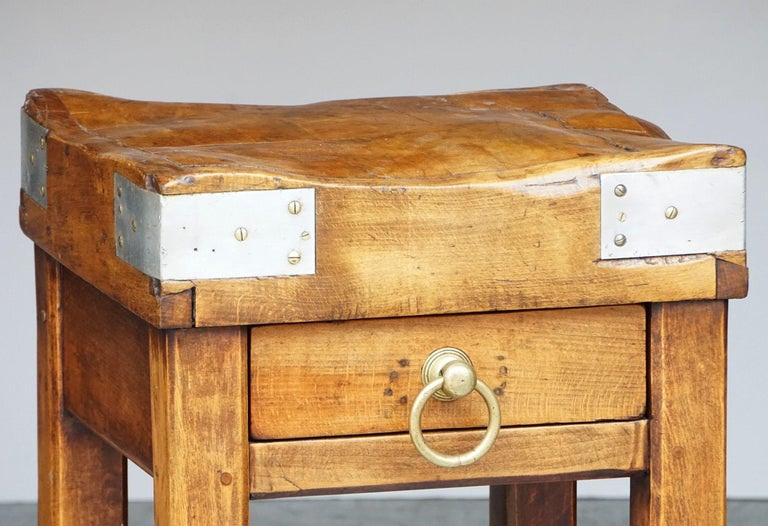 Butcher's Chopping Block Table on Stand from France For Sale 4