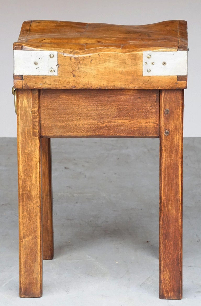 Butcher's Chopping Block Table on Stand from France For Sale 5
