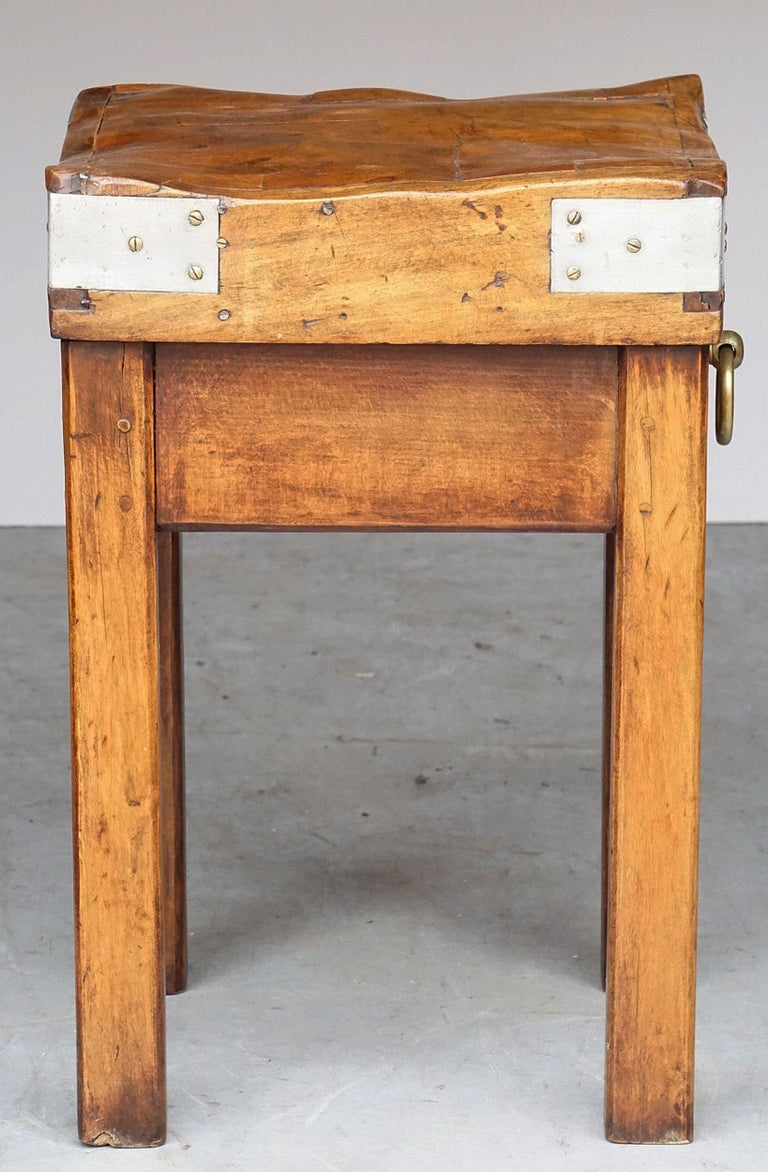 Butcher's Chopping Block Table on Stand from France For Sale 7