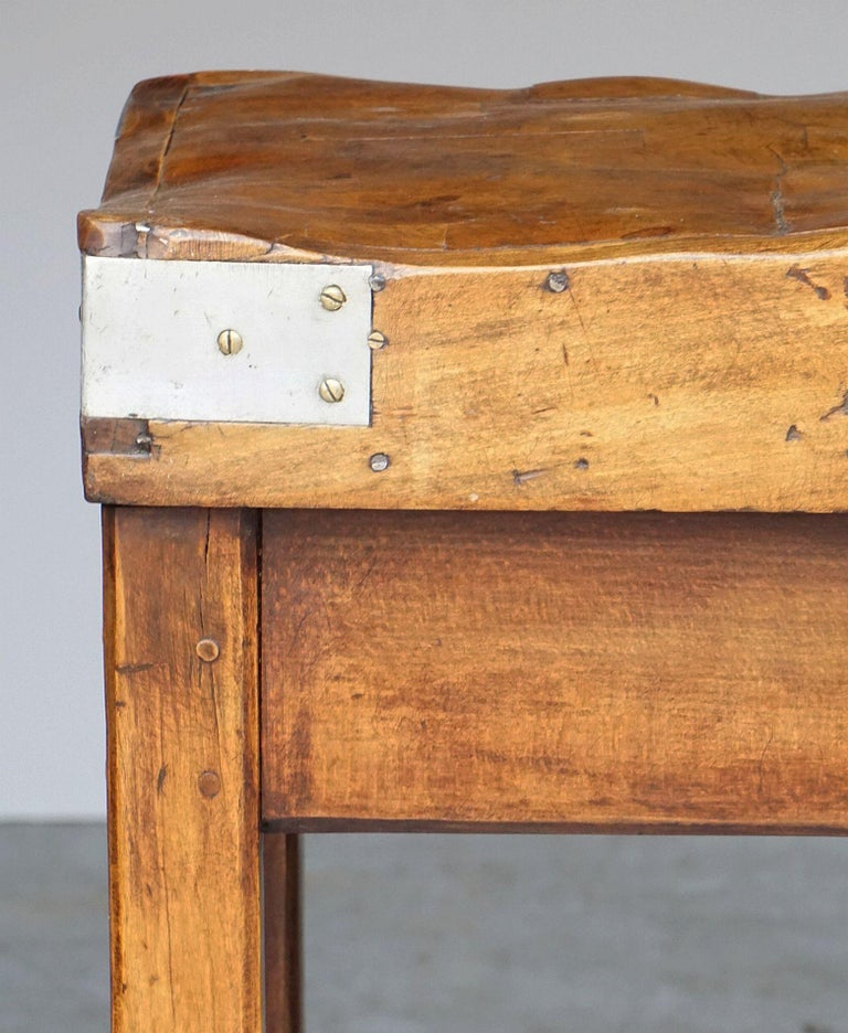 Butcher's Chopping Block Table on Stand from France For Sale 9