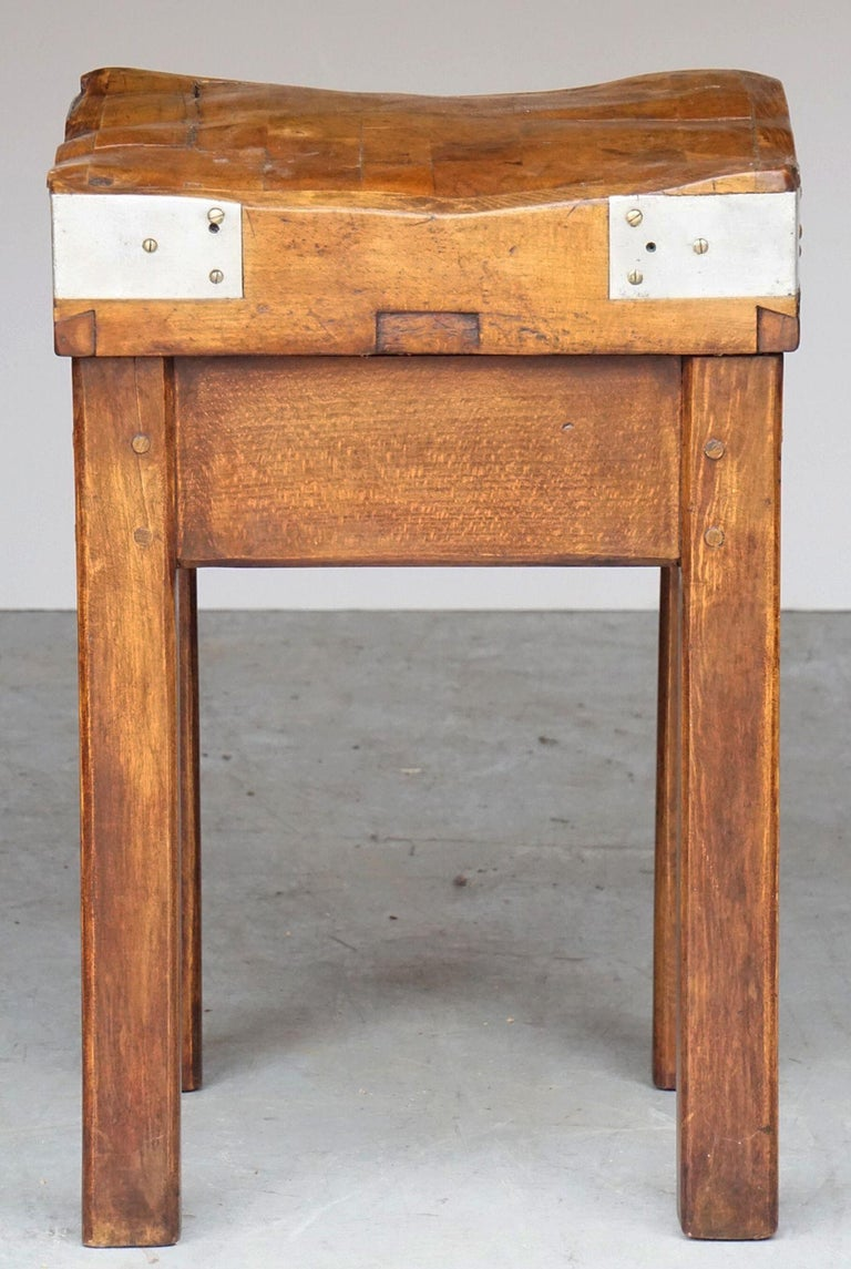 Butcher's Chopping Block Table on Stand from France For Sale 10