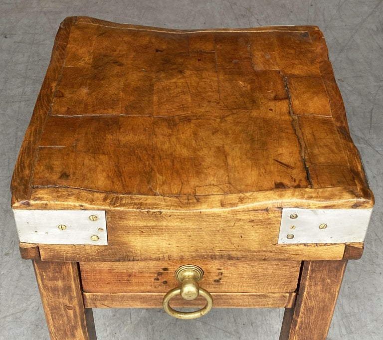 French Butcher's Chopping Block Table on Stand from France For Sale