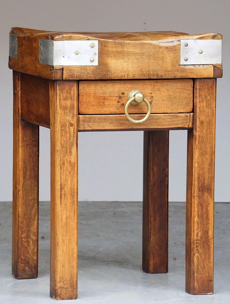 20th Century Butcher's Chopping Block Table on Stand from France For Sale