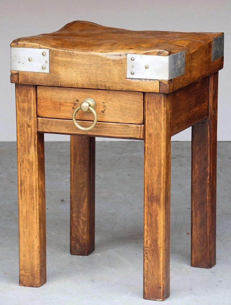 Metal Butcher's Chopping Block Table on Stand from France For Sale