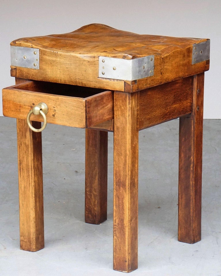 Butcher's Chopping Block Table on Stand from France For Sale 1