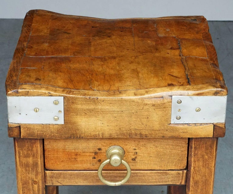 Butcher's Chopping Block Table on Stand from France For Sale 3