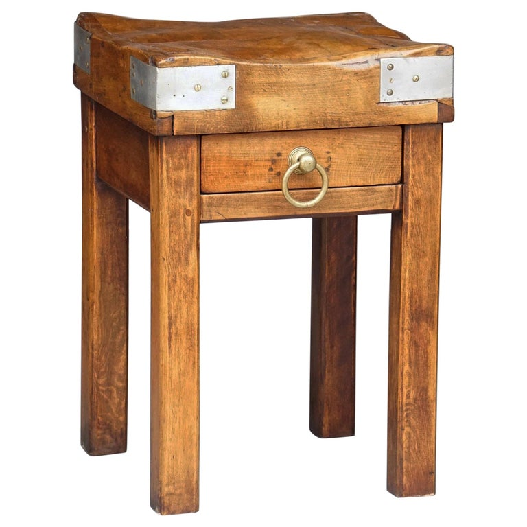 Butcher's Chopping Block Table on Stand from France For Sale