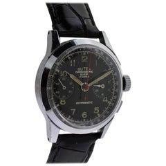 Butex Chromium Stainless Steel Chronograph Manual Wristwatch, 1940s