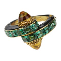 Butler & Wilson Art Deco Style Vermeil Bangle with Green Quartz and Citrine