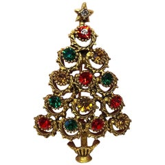 Butler & Wilson Designer Signed BW Faux Gemstone Christmas Tree Brooch Pin
