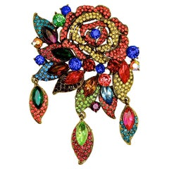 Butler & Wilson Gold Tone Flower and Leaves Brooch with Multi Coloured Crystals