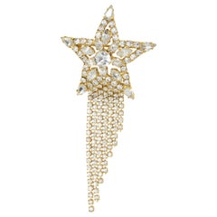 Butler & Wilson Golden Crystal Encrusted Shooting Star Tassel Pin Brooch, B&W