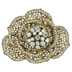 Butler & Wilson Large Flower Brooch with Clear and Aurora Borealis Crystals