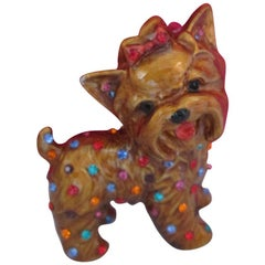 Butler & Wilson Signed BW Enamel Faux Multi-Gem Dog Brooch Pin
