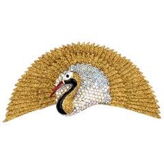 Butler & Wilson Signed BW Gold Glitter Diamanté Bird Fan Tail Brooch Pin