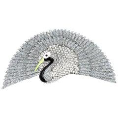 Butler & Wilson Signed BW Silver Glitter Diamanté Bird Fan Tail Brooch Pin