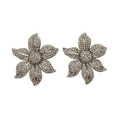 Butler & Wilson Silver Tone and Crystal Flower Design Clip On Statement Earrings
