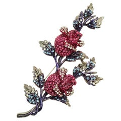 Butler & Wilson Silver Tone Rosebud Brooch with Clear, Pink and Blue Crystals