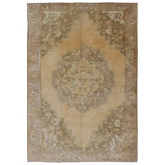 Butter, Yellow Green and Taupe Turkish Oushak Vintage Rug with Central Medallion