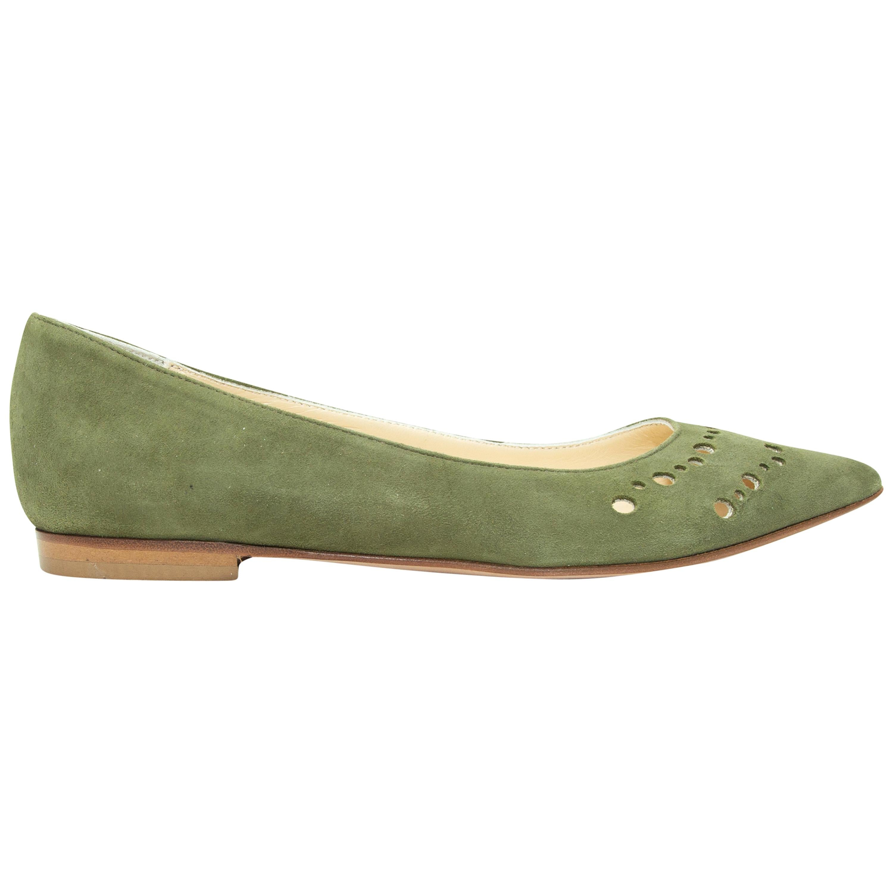 Butter Olive Green Suede Pointed-Toe Flats