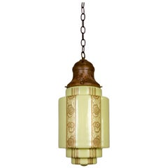 Butter Yellow Glass Art Deco Pendant with Painted Tan Foliate