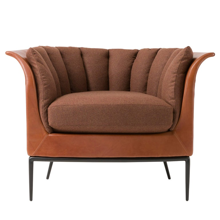 Buttercup Armchair in Warm Brown by Luca Scacchetti