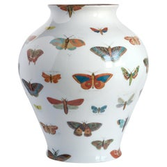 Butterflies, Contemporary Porcelain Vase with Decorative Design by Vito Nesta