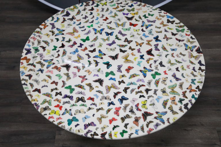 Lacquered 'Butterflies' Cafe Dining Table by Piero Fornasetti, circa 1960s Italy, Signed  For Sale
