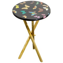 'Butterflies'' Lacquered Wood and Brass Side Table by Piero Farnasetti, Signed