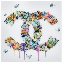 Butterflies Plexiglass Wall Decoration in the Style of Chanel