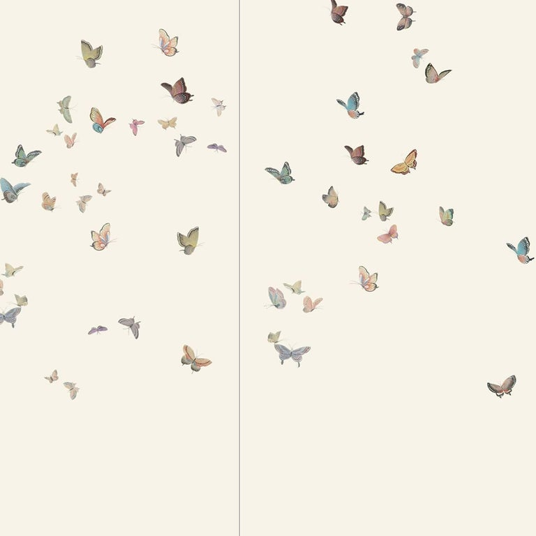 Custom Any Size Modern Wall Wallpaper Pearl Butterfly Silk: Butterflies Wallpaper For Sale At 1stdibs