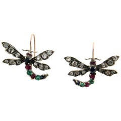 Butterfly 14 Karat Yellow Gold Diamonds Drop Earrings