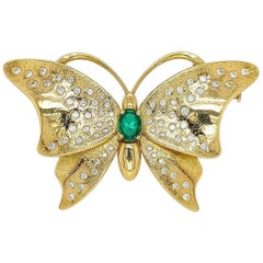 Butterfly 18 Karat Brooch / Necklace / Hanger Emerald Diamonds