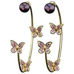 JAG New York Pink and Purple Sapphire, Pearl 18 Karat Earrings