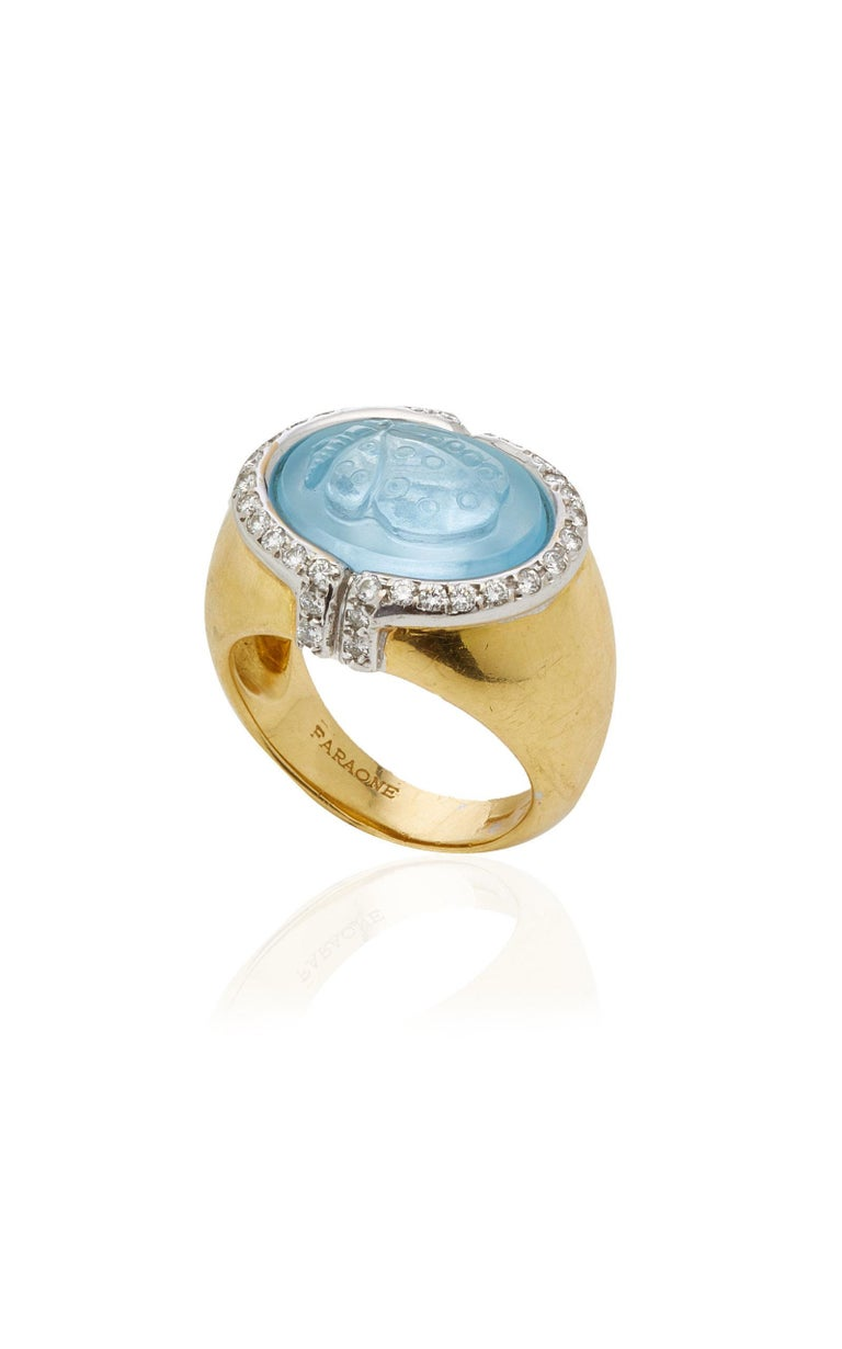 Butterfly Aquamarine Diamond Ring by Faraone  In Excellent Condition For Sale In New York, NY