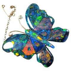 Butterfly Australian Opal Broach 9 Karat Yellow Gold