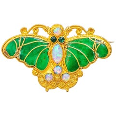 Butterfly Brooch 24 Karat Gold with Jade and Opals